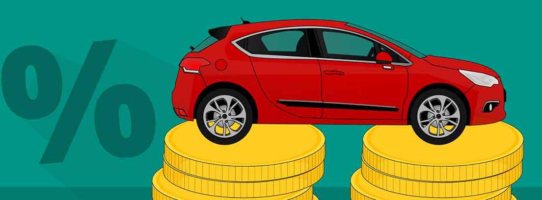 Ilustración de un coche rojo sobre dos columnas de monedas y el símbolo de porciento
