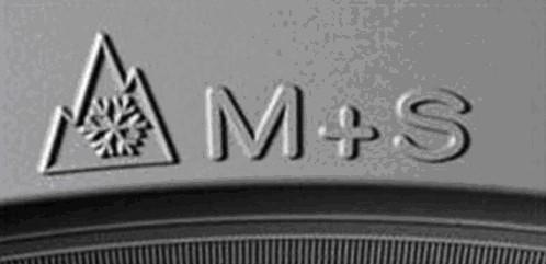 logo de neumáticos M+S con montaña