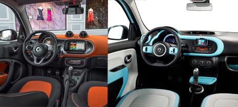 Interior del nuevo Smart Forfour y del nuevo Twingo