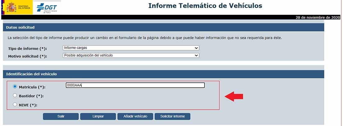 Pantallazo de la web de la DGT para solicitar un informe de cargas de un coche