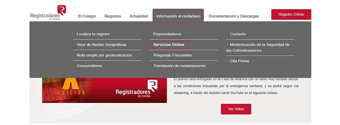 Pantallazo de la web de Registradores de España para solicitar un informe de cargas de un coche