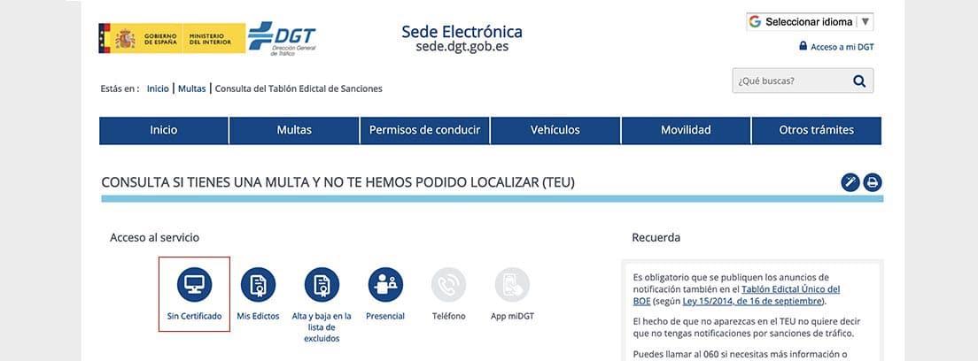 Pantallazo de la página de consultas de multas de la sede electrónica de la DGT