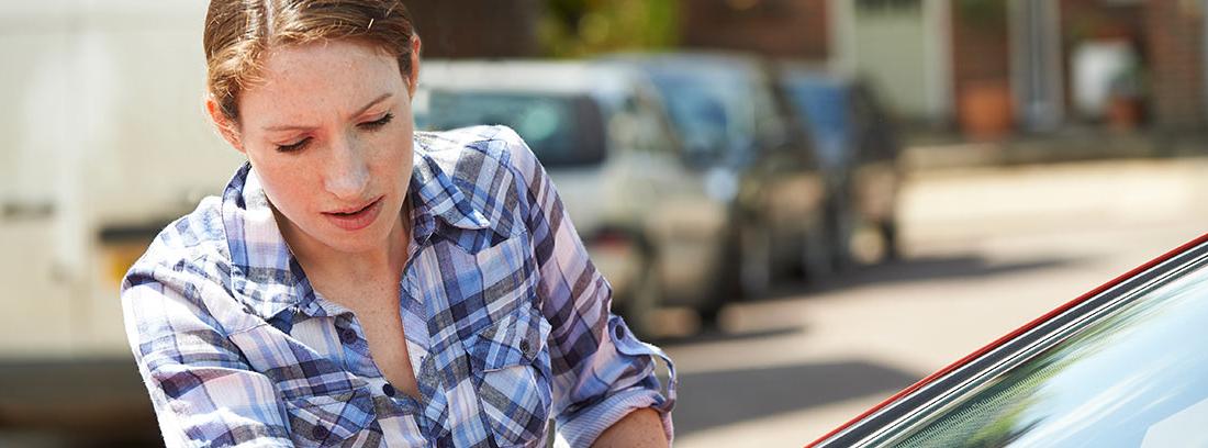 Mujer retirando una multa de su parabrisas