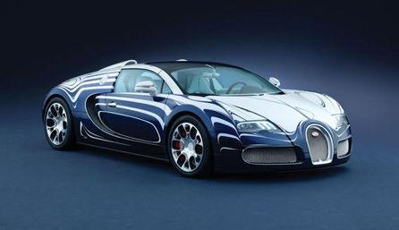 Bugatti Veyron azul con rayas blancas