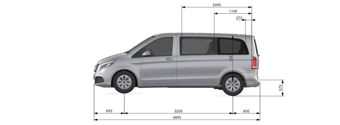 Medidas del Mercedes Clase V