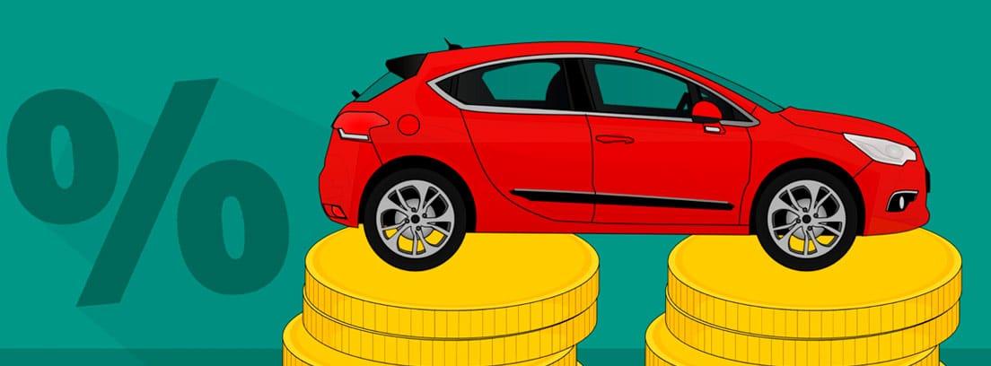 Ilustración de un coche sobre dos columnas de monedas y el símbolo de por ciento