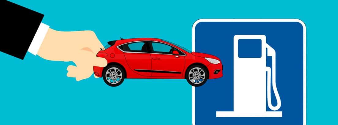 Ilustración de una mano sujetando un coche y el símbolo de un surtidor de combustible