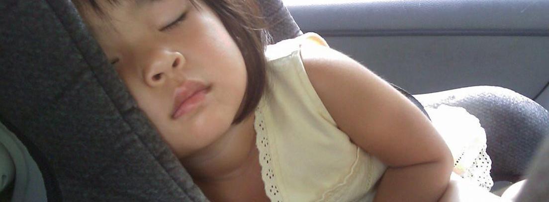 Niña dormida acomodada en silla de coche