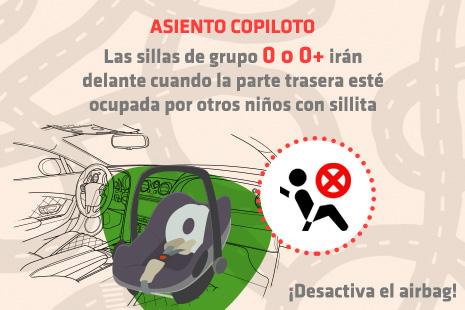Infografía: ¿pueden ir las sillas infantiles en el asiento del copiloto?