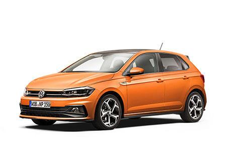Volkswagen Polo naranja visto de lado