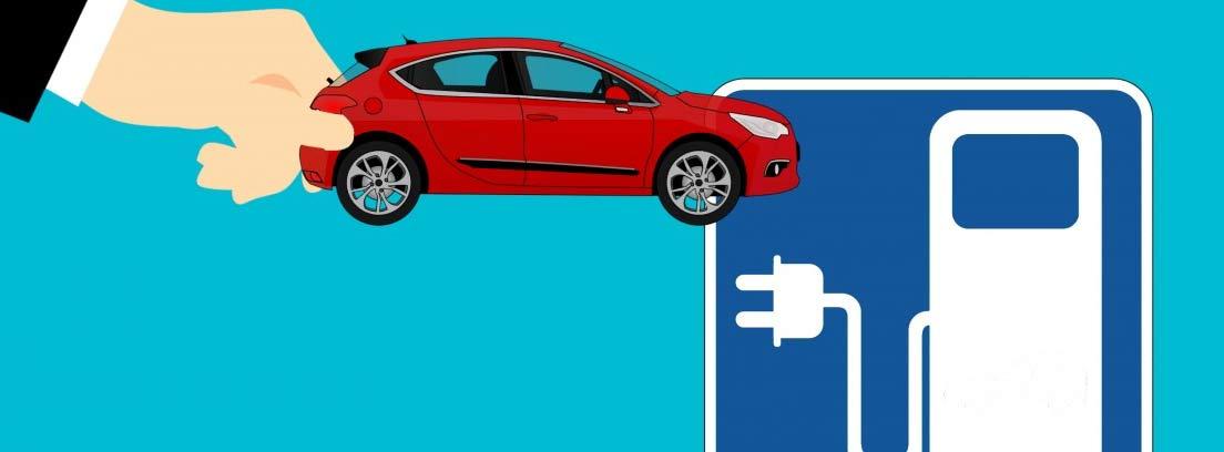Ilustración de una mano sujetando un coche y símbolo de estación de recarga eléctrica