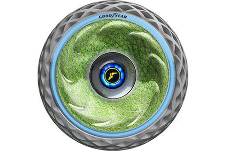 maqueta de un neumático Goodyear por dentro