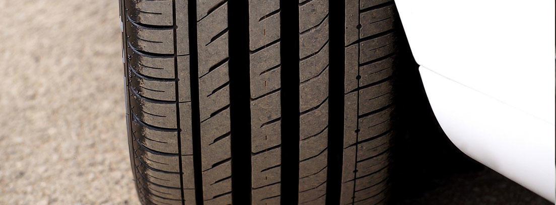 Vista de dibujo de rueda de un vehículo sobre asfalto.