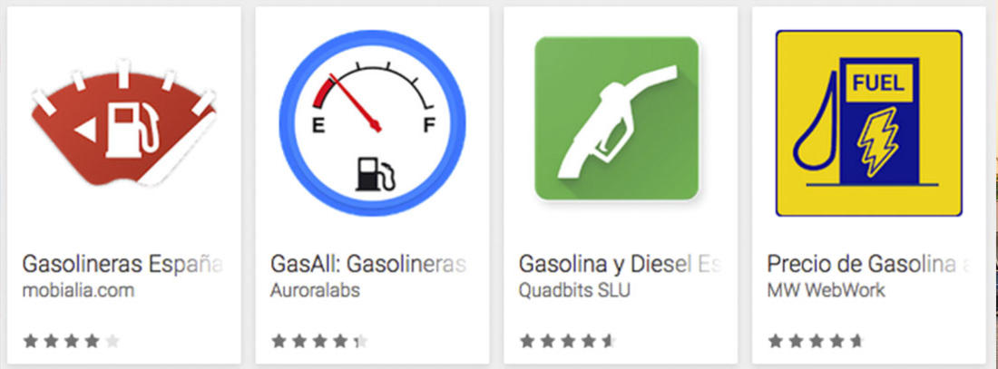 Iconos de algunas apps de gasolineras en España