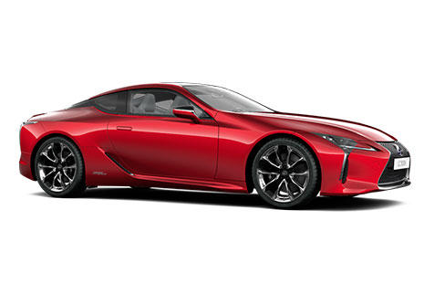 Lexus LC 50 vista lateral de color rojo