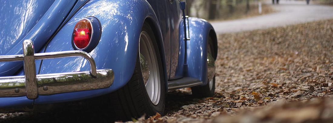 Vista trasera de un coche azul Volkswagen escarabajo aparcado sobre hojas marrones