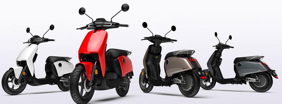 Super Soco en los distintos colores disponibles: blanco rojo, gris oscura y plateado.