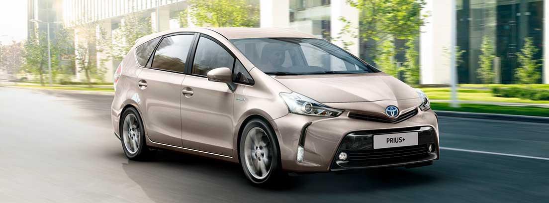 Vista frontalde Toyota Prius+ gris