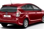Vista posterior de Toyota Prius+ granate