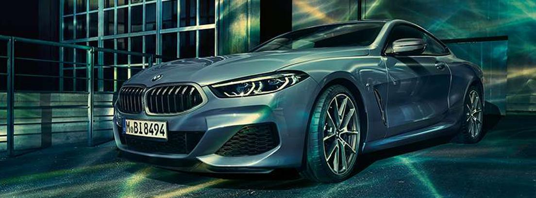 Coche deportivo de color gris con el logo BMW en el frontal y bajo luces de neón.