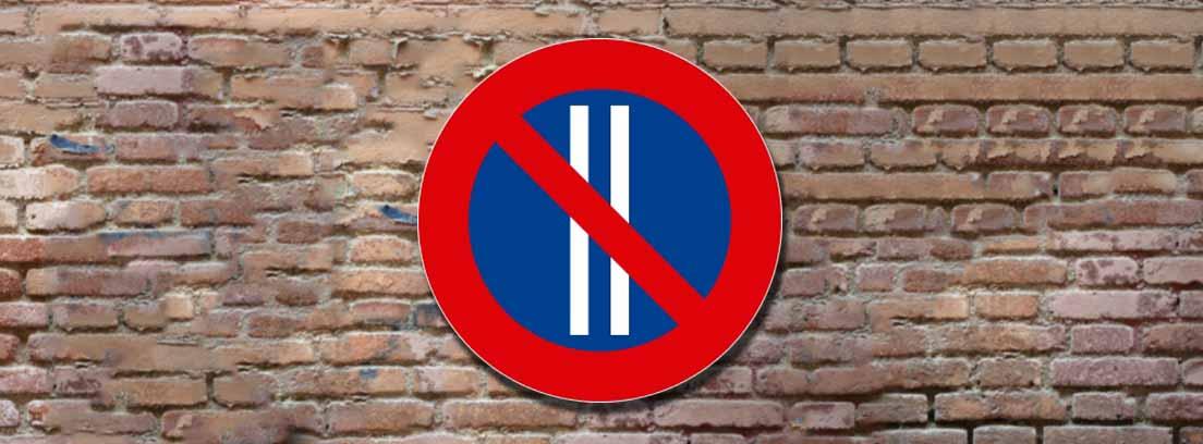Señal de tráfico R-308b de prohibido estacionar los días pares