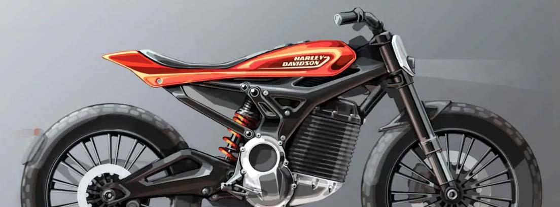 Moto negra con detalle naranja en el carenado donde se lee Harley Davidson
