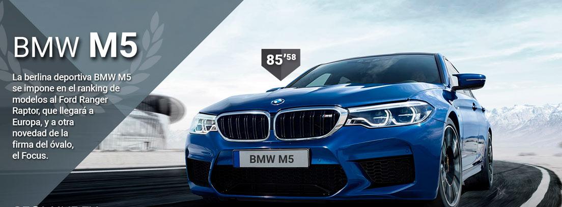 Con BMW M5 azul rodando en carretera