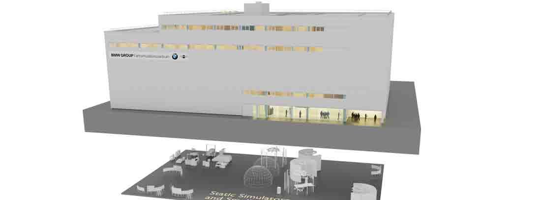 Diseño 3D del nuevo centro de simulación de conducción autónoma de BMW en Múnich