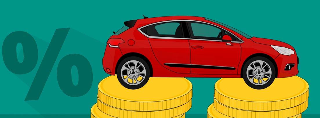 Ilustración de un coche rojo sobre dos columnas de monedas y un símbolo de por ciento