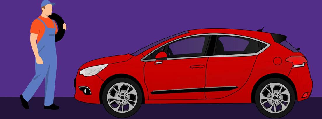 Ilustración de un hombre con mono azul y gorra sujetando una rueda frente a un coche rojo
