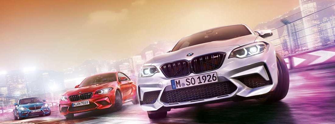 parte frontal de tres BMW M2 Competition