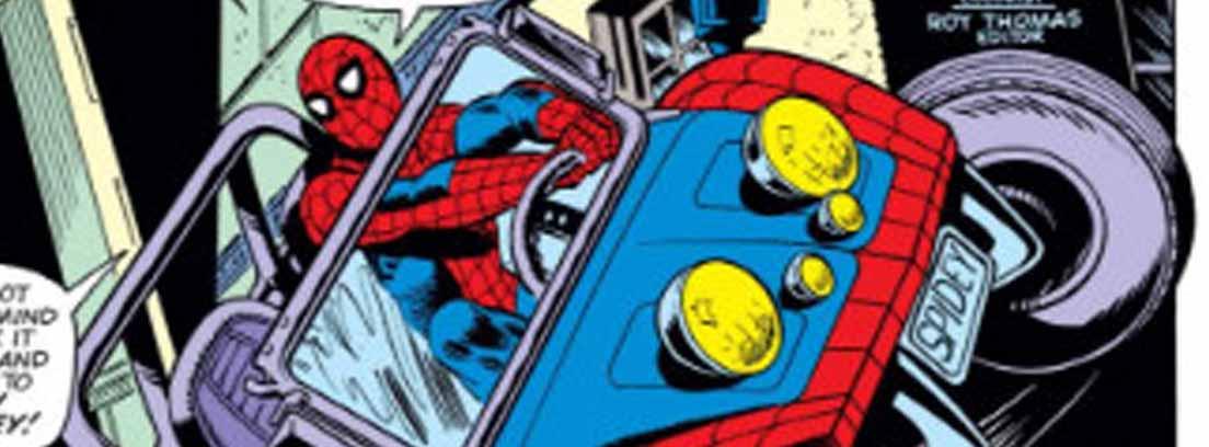 Spiderman en su coche en imagen de cómic