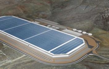 Vista general de la fábrica Tesla de baterías para coches eléctricos