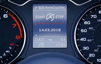 Vista general de cuadro de mandos de un vehículo detrás de su volante
