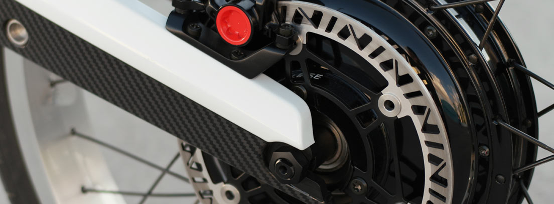Motor de la moto eléctrica Novus integrado en el cubo de la rueda trasera