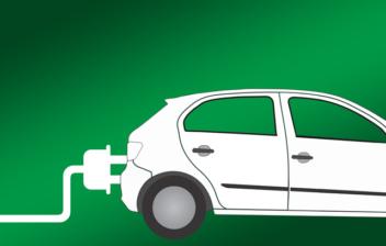 Dibujo de surtidor del que sale un enchufe que se conecta a un coche