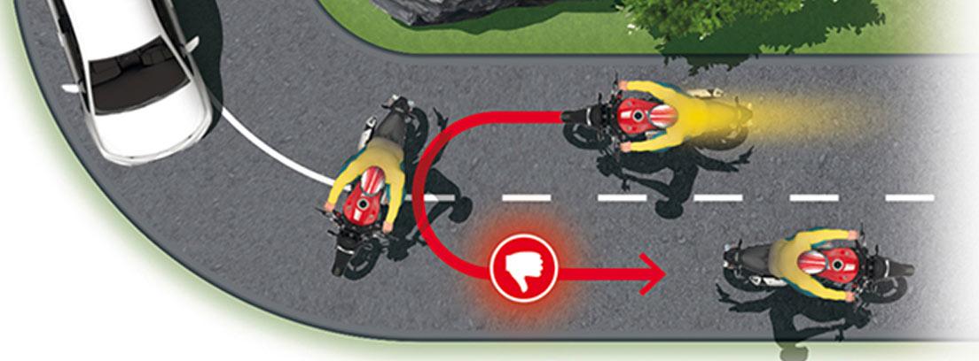 Dibujo que explica como las motos no deben hacer un cambio de sentido.