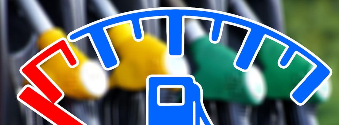 Dibujo de indicador de depósito de gasolina de coche con zona roja y zona azul.