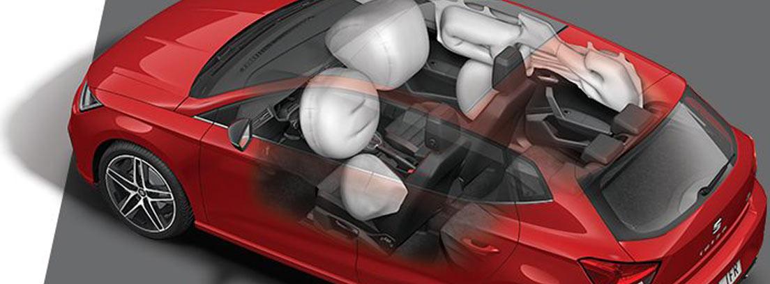 Infografía del nuevo Seat Ibiza en la que se ven los airbags del vehículo