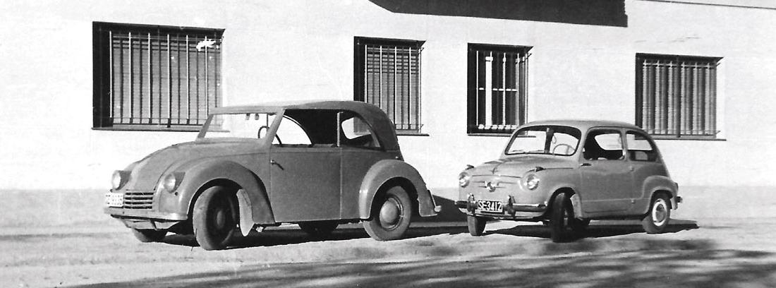 DAR, el primer coche eléctrico español, junto a un Seat 600