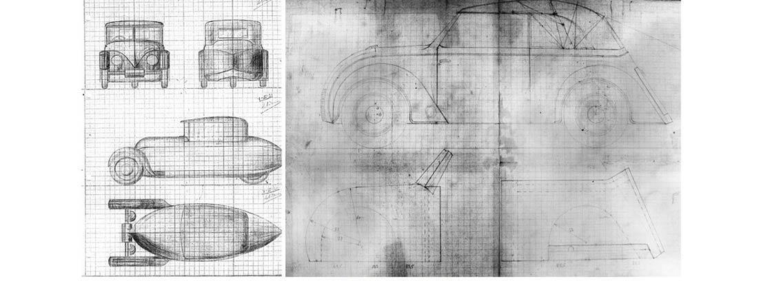 Bocetos con el diseño del DAR, el primer coche eléctrico de España, y su prototipo de coche de tres ruedas