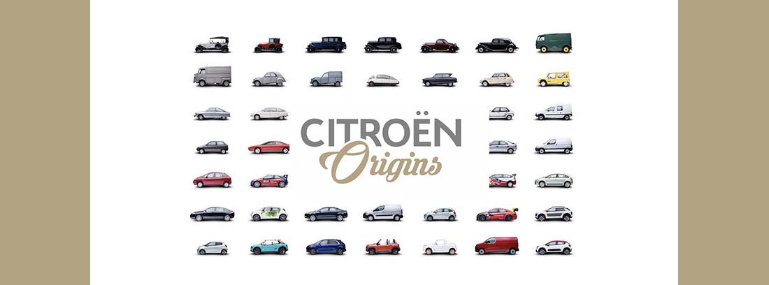 Diferentes coches Citroën de cartel promocional de aniversario con colección origins.
