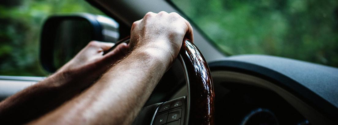Manos sobre volante conduciendo coche