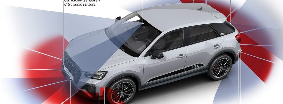 Imagen gráfica del Audi Q2 con detalles en gris y rojo