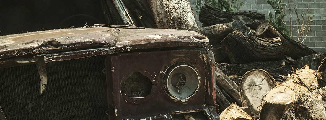 Coche parcialmente quemado y destrozado junto a árbol y troncos.