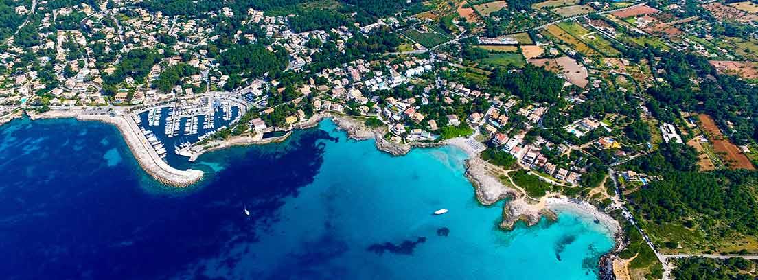 Vista aérea de la parte de la isla de Mallorca