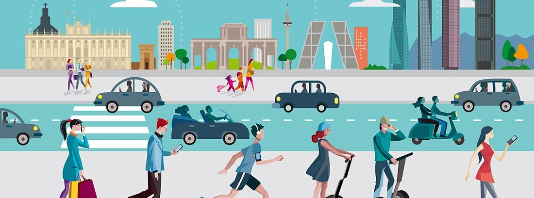 Ilustración del skyline de Madrid, con personas caminando, en patinete o en coches