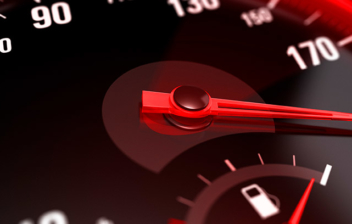 Velocidad en un panel de control del coche
