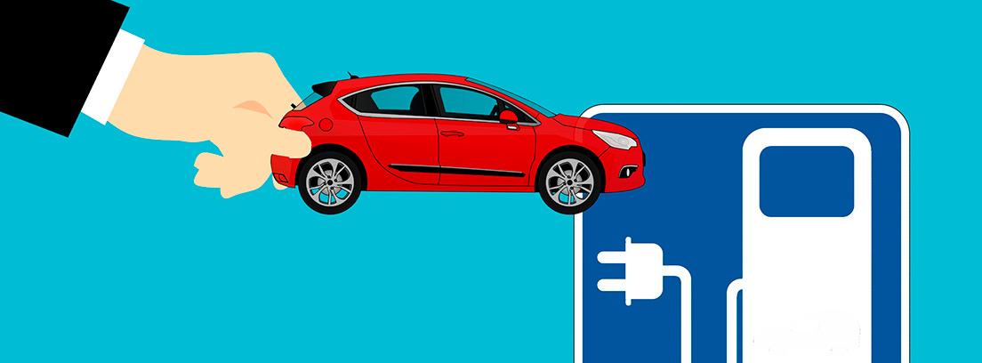Ilustración de un punto de recarga para coche eléctrico