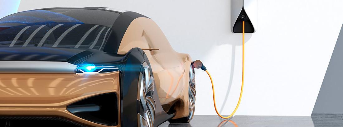 Punto de recarga con un coche eléctrico en un garaje